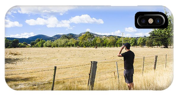 Man Enjoying A Rural Farm Landscape In Hobart IPhone Case