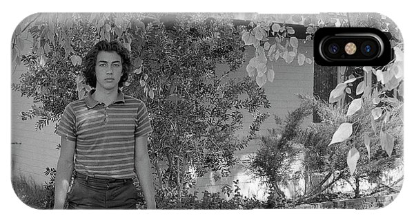 Man In Front Of Cinder-block Home, 1973 IPhone Case
