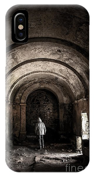Man Inside A Ruined Chapel IPhone Case