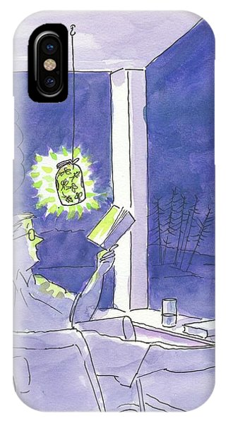 Man Reads By The Light Of Fireflies. IPhone Case