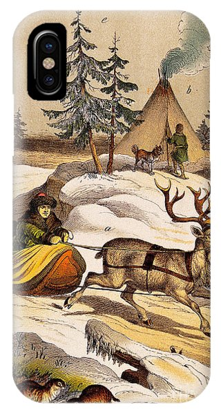 Vintage iPhone Case - Man Riding Reindeer-drawn Sleigh by Wellcome Images