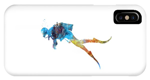 Scuba Diving iPhone Case - Man Scuba Diver 01 In Watercolor by Pablo Romero