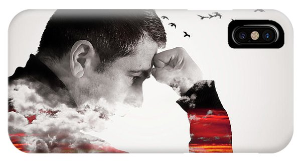 Man Thinking Double Exposure With Birds IPhone Case