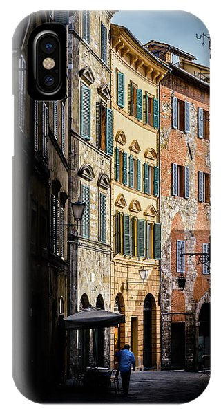Man Walking Alone In Small Street In Siena, Tuscany, Italy IPhone Case