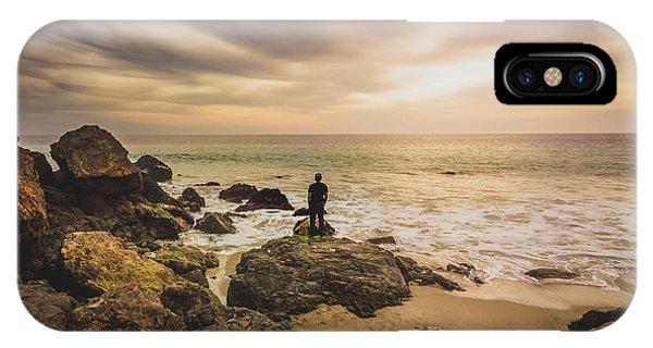 Man Watching Sunset In Malibu IPhone Case
