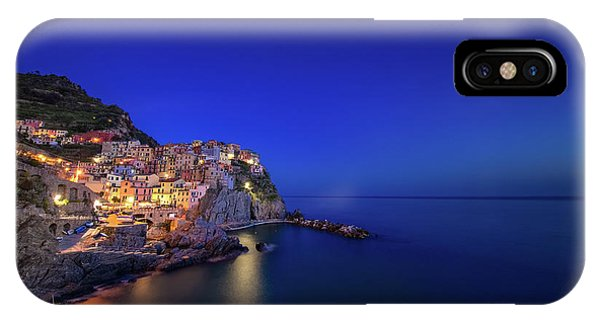 IPhone Case featuring the photograph Manarola Village During Blue Hour At Night by IPics Photography