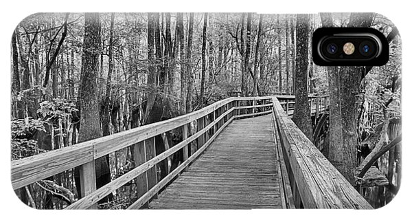 Manatee Springs Black And White Boardwalk IPhone Case