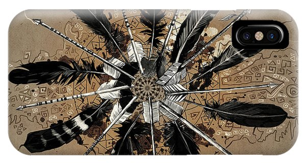 Feathers iPhone Case - Mandala Arrow Feathers by Bekim M
