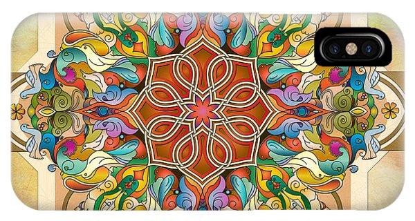Ironwork iPhone Case - Mandala Birds by Peter Awax