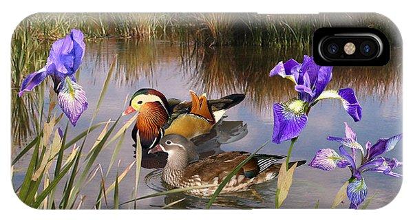 Mandarin Ducks And Wild Iris IPhone Case
