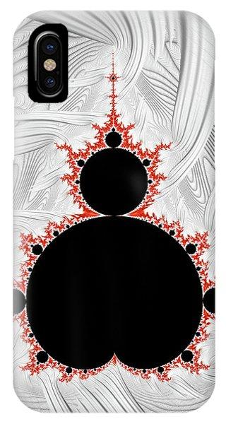 Endless iPhone Case - Mandelbrot Set Black Red Silver by Matthias Hauser