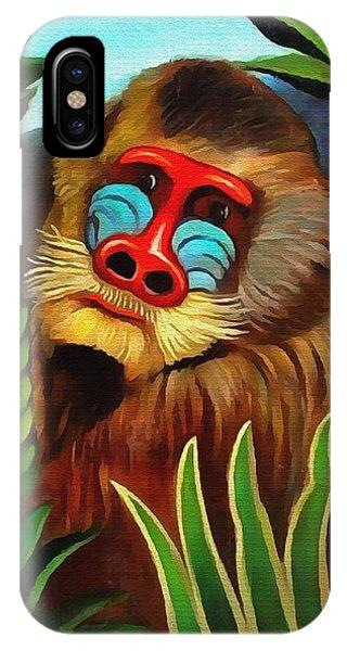 Mandrill In The Jungle IPhone Case