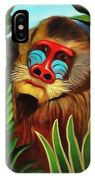 Mandrill In The Jungle IPhone Case