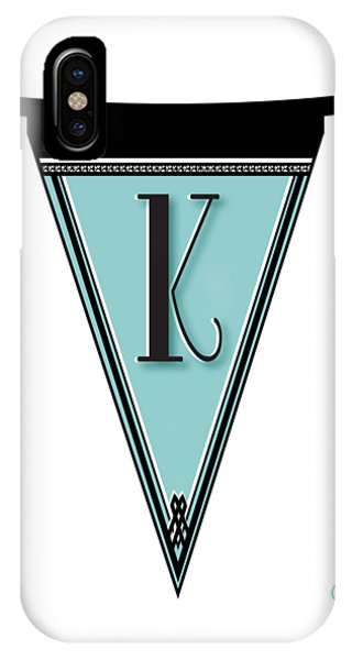 Pennant Deco Blues Banner Initial Letter K IPhone Case