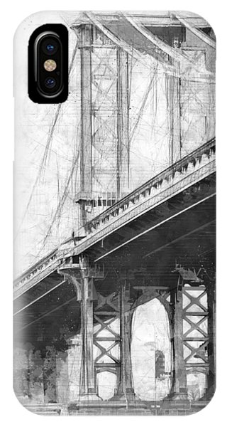 Manhattan Bridge Nyc Monotone IPhone Case