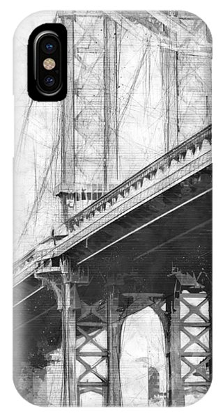Manhattan Bridge Nyc Tall Bw IPhone Case
