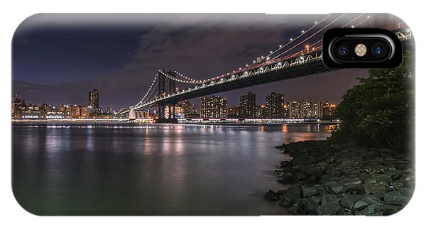 Manhattan Bridge Twinkles At Dusk IPhone Case