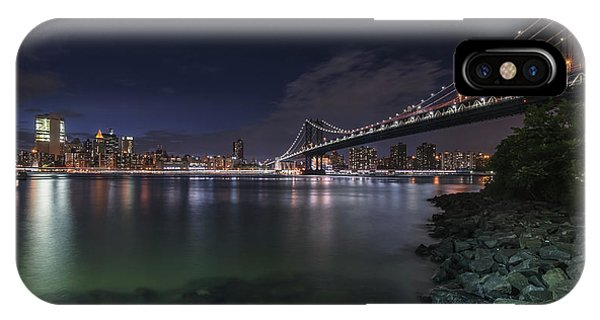 Manhattan Bridge Twinkles At Night IPhone Case
