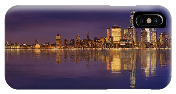 Manhattan, New York At Dusk Panoramic View IPhone Case