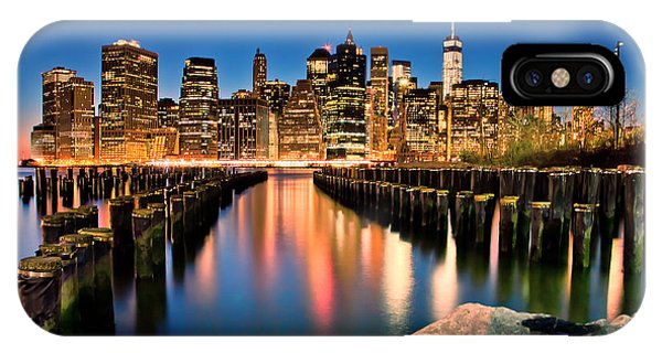 Famous Artist iPhone Case - Manhattan Skyline At Dusk by Az Jackson