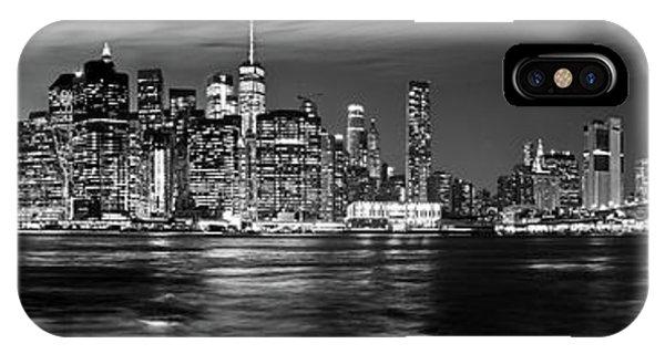 Manhattan Skyline At Dusk From Broklyn Bridge Park In Black And  IPhone Case