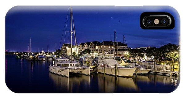 Manteo Waterfront Marina At Night IPhone Case
