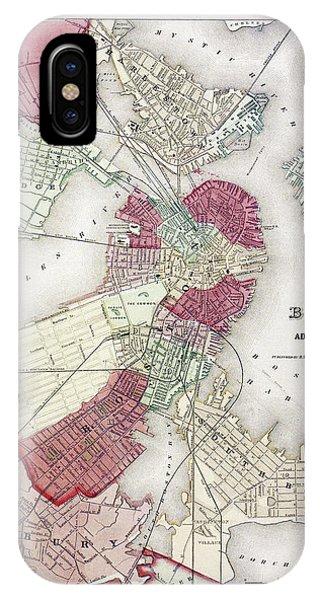 Roxbury iPhone Case - Map: Boston, 1865 by Granger