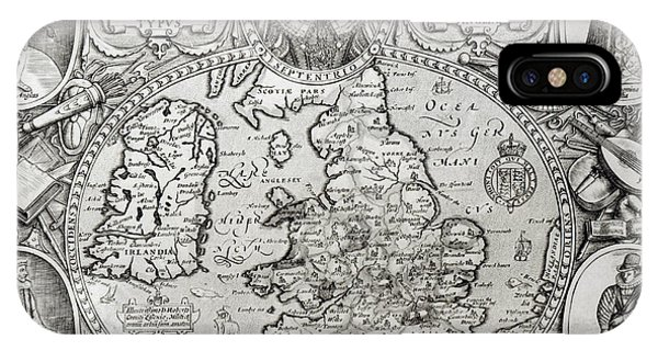 Map Of England During The Reign Of Queen Elizabeth I, 1590  IPhone Case