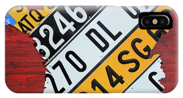 French iPhone Case - Map Of France Recycled License Plate Car Numberplate Art by Design Turnpike