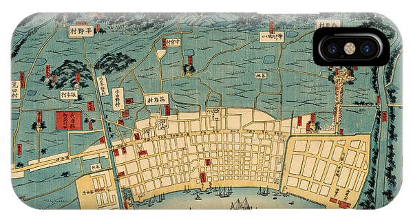 Kobe iPhone Case - Map Of Kobe 1868 by Andrew Fare