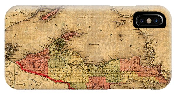 Lake Superior iPhone Case - Map Of Michigan Upper Peninsula And Lake Superior Vintage Circa 1873 On Worn Distressed Canvas  by Design Turnpike