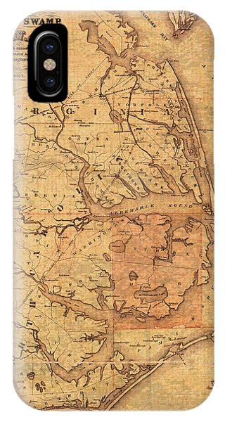 Map Of Outer Banks North Carolina Dismal Swamp Canal Currituck Albemarle Pamlico Sounds Circa 1867  IPhone Case