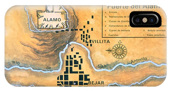 The Alamo iPhone Case - Map Of The Alamo Area In San Antonio by Mexican School
