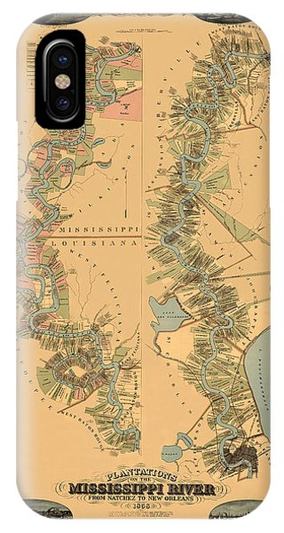 Map Of The Mississippi River 1858 IPhone Case