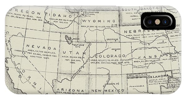 Montana State iPhone Case - Map Of The Western States Of America by English School
