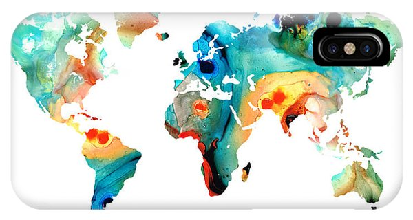 Map iPhone Case - Map Of The World 11 -colorful Abstract Art by Sharon Cummings