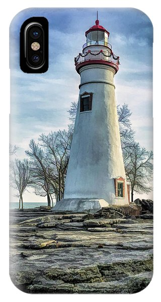 IPhone Case featuring the painting Marblehead Lighthouse by Christopher Arndt