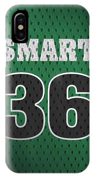 Celtics iPhone Case - Marcus Smart Boston Celtics Number 36 Retro Vintage Jersey Closeup Graphic Design by Design Turnpike