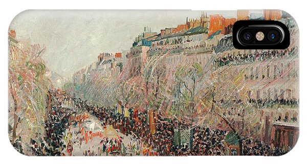 Trolley Car iPhone Case - Mardi Gras On The Boulevards by Camille Pissarro