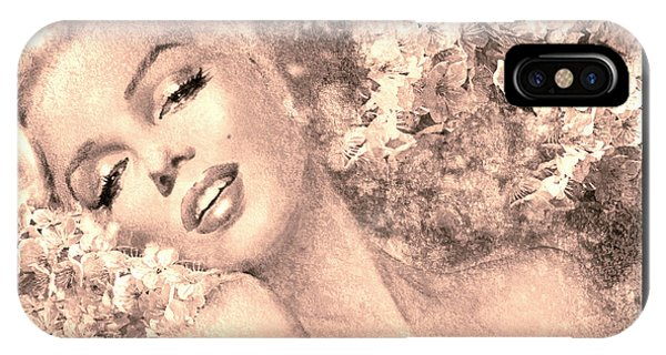 Marilyn Cherry Blossom, B Sepia IPhone Case