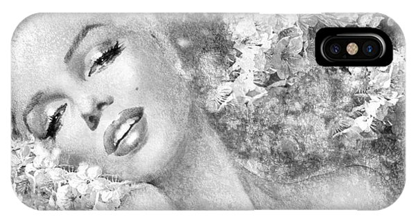 Marilyn Cherry Blossom Bw IPhone Case