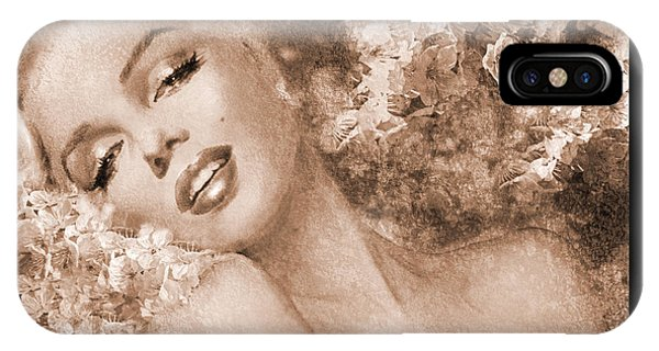 Marilyn Cherry Blossoms, Sepia IPhone Case