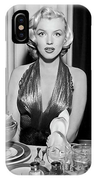Leading Actress iPhone Case - Marilyn Enjoying Dinner by Daniel Hagerman