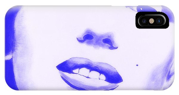 IPhone Case featuring the painting Marilyn Monroe - Blue Tint by Bob Baker