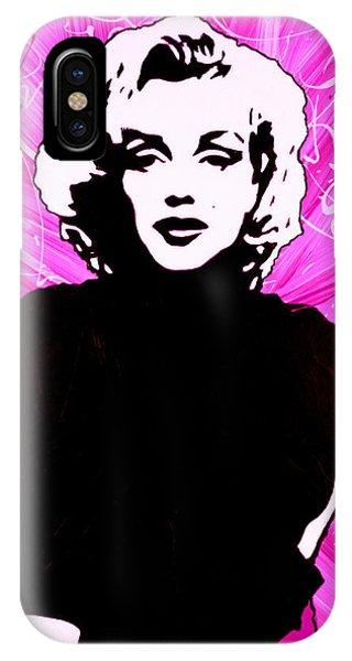 IPhone Case featuring the painting Marilyn Monroe In Hot Pink by Bob Baker