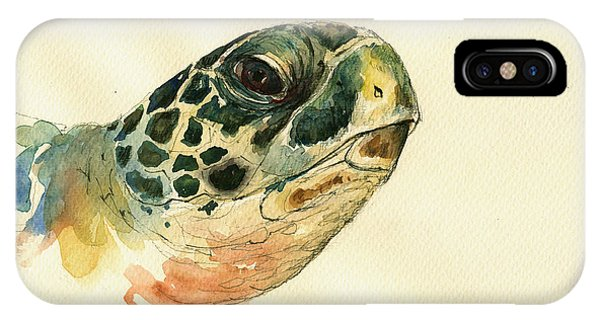 Reptiles iPhone Case - Marine Turtle by Juan  Bosco