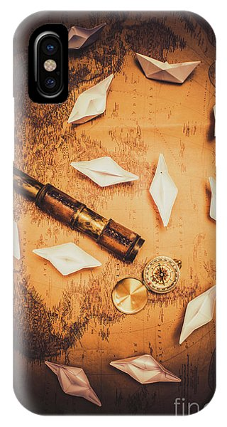 Navigation iPhone Case - Maritime Origami Ships On Antique Map by Jorgo Photography - Wall Art Gallery
