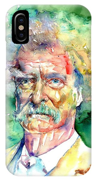 Cemetery iPhone Case - Mark Twain Watercolor by Suzann Sines