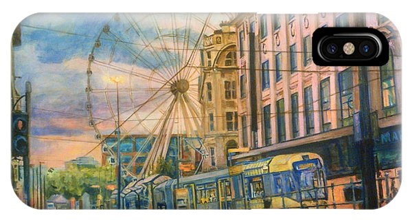 Market Street Metrolink Tramstop With The Manchester Wheel  IPhone Case