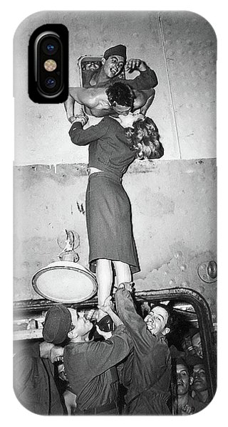 Marlene Dietrich Kissing Soldier Returning From Ww2 1945 IPhone Case